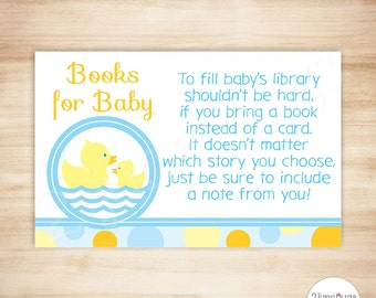 Rubber Duck Baby Shower Book Request Cards - Rubber Duck Baby Boy Shower - Rubber Ducky - Gender Neutral - PRINTABLE, INSTANT DOWNLOAD