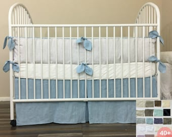 Crib Bumpers with Leaf Shaped Ties, Crib Skirt with Tailored Pleats, multiple color choices