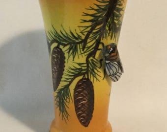 Vintage Artist Signed Majolica Glass Cicada Vase