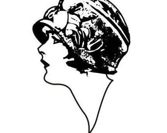 Lady Profile UNMOUNTED rubber stamp large, woman, flapper, art deco style, 1920's fashion, person, Sweet Grass Stamps No.2