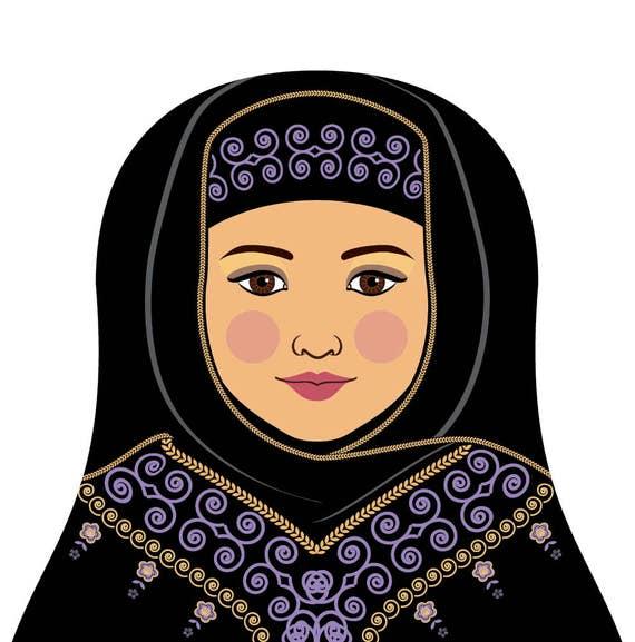 Saudi Doll Art Print with traditional folk dress, matryoshka