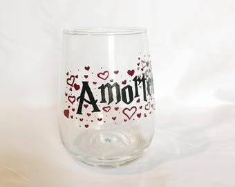Potions hand painted Harry Potter stemless wine glass - Amortentia, love potion