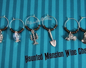 Haunted Mansion 6 Wine Charms, Crystal Ball, Candelabra, Hearse, Bell, Shovel, Disneyland, Disney World, Haunted Mansion Christmas Gift