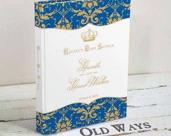 Royal Prince Baby Shower Guest Book, Blue and Gold Wishes for Baby, Baby Boy Advice Book - Personalized Guest Sign In