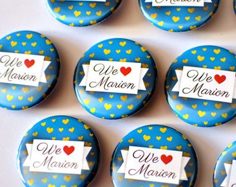"""Bachelorette party badge """"We love + personalized name"""""""