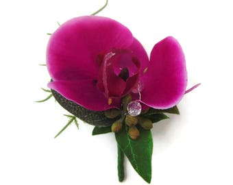 Silk Purple Orchid Corsage Boutonniere with Magnetic Fixings. free delivery