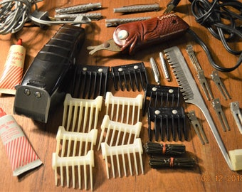 Raycine Electric Hair Clippers Deluxe model 374 Series A ,10 Guides,Snippy Ungor ,Metal Hair Rods,Curlers,Clips Pins Junk Drawer Lot