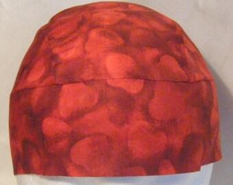 Red Hearts Skull Cap, Chemo Cap, Hair Loss, Bald, Head Wrap, Do Rag, Hats, Motorcycle, Valentines, Surgical Cap, Handmade, Alopecia, Caps