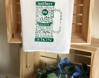 Beer Words Flour Sack Towel