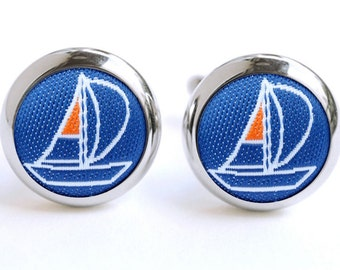 Sailing Cufflinks | Sail Gift for Grooms | Cuff Links | Anniversary | Birthdays | Keepsakes | Man Gift | Navy | Blue