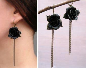 Unique gift for girlfriend birthday gift ideas for women Rose drop earrings Flower chain earrings black gold earrings dangle flower earrings