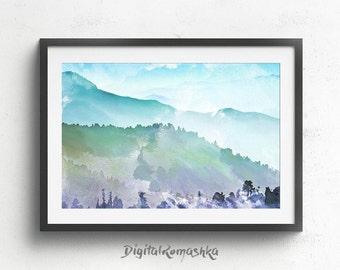 Landscape Painting, mountain print, mountain art, abstract painting, abstract landscape, acrylic painting, landscape print, wall art