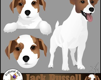 Jack Russell Terrier Clipart Graphics set 1 with 3 graphics [INSTANT DOWNLOAD]