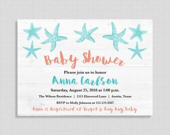 Beach Baby Shower Invitation, Aqua & Coral Baby Shower Invite, Nautical, Starfish, Beach Invitation, DIY PRINTABLE