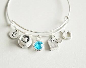 Personalised Tea gift, Tea lovers gift, Tea bracelet, Tea jewelry, Tea Drinker, Tea cup, Tea Bag, Tea bag charm bracelet, Tea bag charm