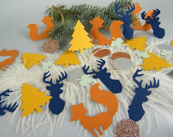 Fox Buck Confetti Woodland Baby Shower Decorations - Forest Creatures Wild Animals - Table Scatter - Camping Party - Lodge Rustic - 100 pcs