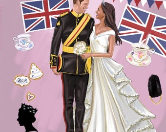 "Art print ""Meghan and Harry"" Royal wedding"