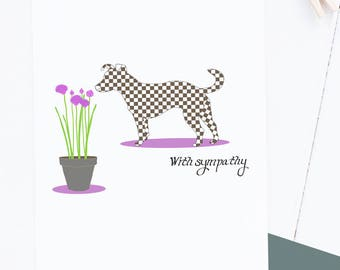 Pet Sympathy Card featuring Dog Drawing - Single card A2 size