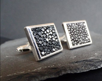 Wedding cufflinks, square cuff links, stingray leather cuff links, Art deco glam wedding cuff links, Grear Gatsby style