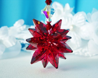 Red Crystal Suncatcher for Car, Swarovski Crystal Rear View Mirror Accessories, Hanging Crystals, Car Mirror Charm