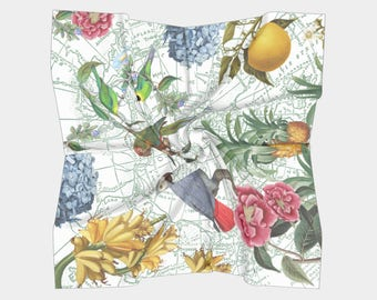 Tropical Parrots Scarf  ~ Birds and Fruit, accessories, colorful happy print  scarves, shawl, cover-up, mother, mom, Green
