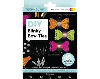 TechnoChic DIY Blinky Bow Ties Kit - Neon - Hot Pink, Orange, Yellow, Tech-Craft kit for STEAM, parties, DIY light-up bow ties are cool!