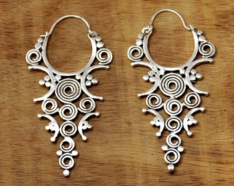 Indian Tribal Earrings, Silver Tribal Earrings, Ethnic Earrings, Indian Earrings, Tribal Jewelry, Gypsy Earrings, Ethnic Jewellery