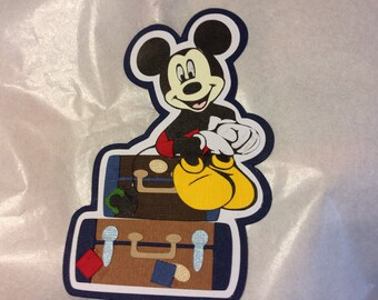 Disney - Die-cut Paper Pieced Embellishment for Scrapbook Pages - Mickey on Suitcases - Packing - Travel to Disney
