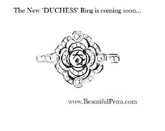 Matching wedding band for DUCHESS Diamond Engagement or RIGHT Hand Ring 14K white gold -Asscher Cut - Round - Bp0011