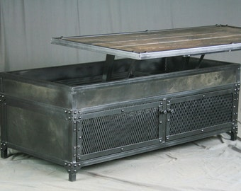 Vintage Industrial Lift Top Coffee Table Distressed Metal