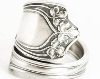 Sterling Silver Leaf Ring, Antique Gorham Spoon Ring, Vine Leaves ca 1912, Botanical Ring, Handcrafted Gift Her, Adjustable Ring Size (7055)