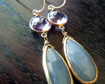 Pink Amethyst and Gray Moonstone Earrings...Ready to Ship...FREE SHIPPING