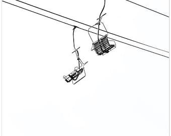 Black and white photography, two ski lifts, mt hood , empty ski lifts, skiing fine art print