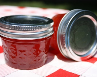 Jam favor sample, 1 4oz sample jar of our homemade strawberry pineapple jam wedding or shower favor