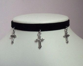 Cross Choker Necklace Gothic Black Velvet Vampire Collar