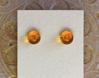 Dichroic Glass Earrings, Petite, Marigold  DGE-1345