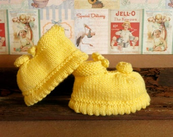 Baby Mary Jane Shoes Available in 48 Colours, Knitted Girls Shoes, Yellow Baby Booties