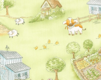 Timeless Treasures Cotton Tale Farm Green Farm Scenic Fabric - 1 yard
