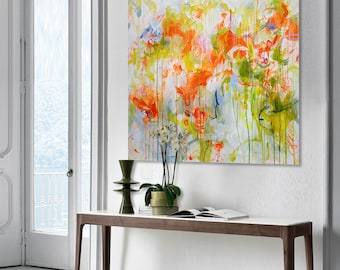 floral print Floral abstract painting Large abstract Yellow red green painting Flower painting Square print on canvas Garden print 125
