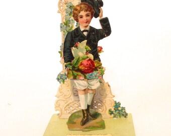 antique pop up Victorian Valentine Greetings card; 3D dimensional antique die cut boy; yesteryears Edwardian; collage, scrapbook ephemera