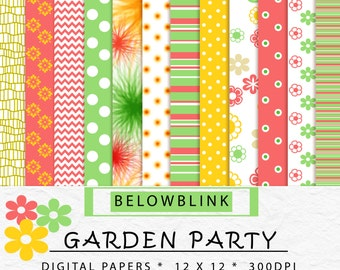 Garden Party Digital Paper Pack, Scrapbook Papers, Background Papers, 12 jpg files 12 x 12 - Instant Download - DP188