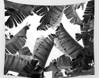 Black & White Tapestry, Banana Leaves, Tropical Wall Hanging, Tropical Backdrop, Leaf Tapestry, Black and White Dorm Decor, Tropical Glam