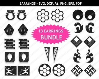 DIY 13 Earrings bundle, Earrings svg, Jewelry svg, leather jewelry,Cricut silhouette, Earrings vector,Modern earrings-svg,dxf,ai,eps,png,pdf