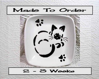 Clay Dish Designed & Painted On Clay by Grace M Smith Siamese Stencil Cat Design Original Artwork