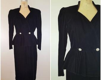 Vintage 1980s Does 1940s Black Velour Skirt Suit / Peplum Jacket and Skirt / Medium