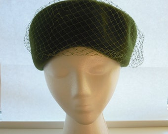 RESERVED Henry Pollack Wool Hat Glenover Moss Green Vintage Felt Grosgrain Ribbon Bow Veil New York Size 23