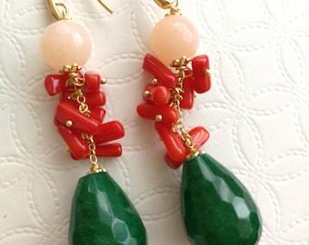 Jade Gemstone earrings, coral earrings Silver Earrings