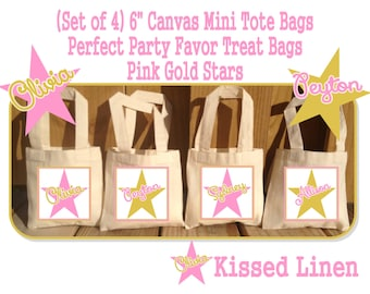 Personalized Pink Gold Star Birthday Party Favor Bags Pink Gold Stars Treat Gift Bags Mini Cotton Totes Kids Party Bags Set of 4