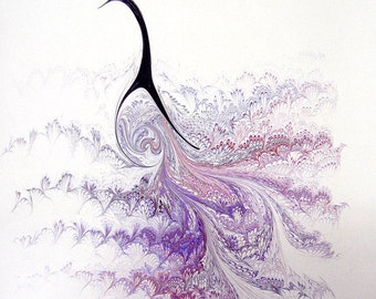 "Purple Peacock - The Original ""Marbled Graphics""™ by Robert Wu, Original Marbling Art, Marbled Paper"