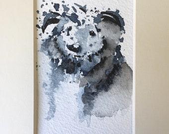 Dog ORIGINAL Ink painting With Mount/matt, Lurcher, Canine, Loose Ink artwork, Off White Mount/Matt For her, Home Decor, Wall Art, Gift Idea
